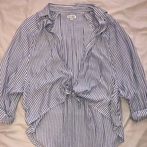 Blue and white striped knot tie medium shirt